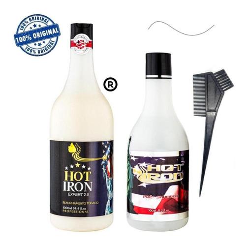 Imagem 1 de 8 de Progressiva Sem Formol E Parabenos Hot Iron 1 Litro + Brinde