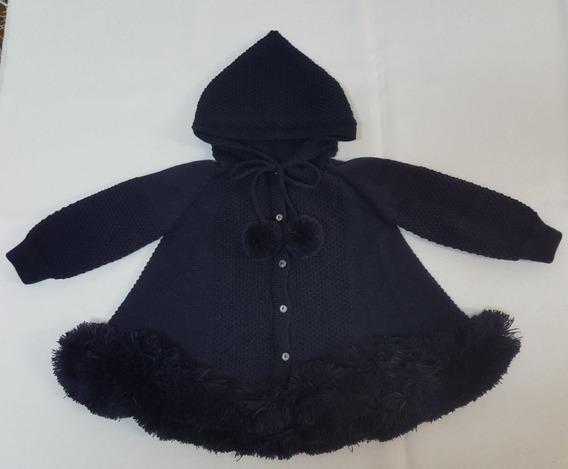 Casaco (trapézio) Para Bebê Azul Marinho Com Capuz Tricot