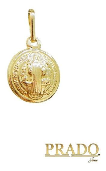 Pingente Medalha São Bento Dupla Face Em Ouro 18k 10mm Mini
