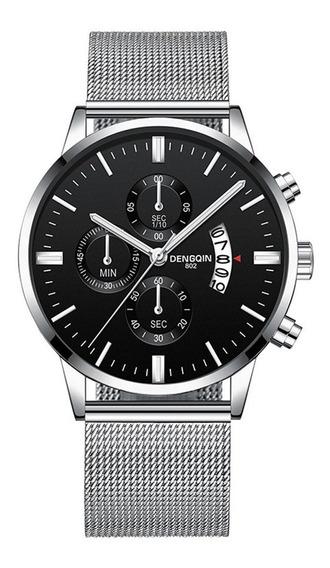 Homens Relógios De Aço Inoxidável Malha Banda Calendário Dis