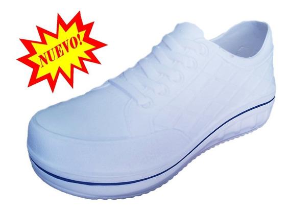 Tenis Hombre Dama Blanco Termico Deportivos Zumba Plataforma