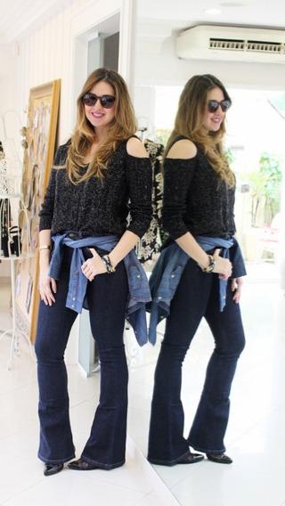 Calça Jeans Carmim Modelo Flare Frete Grátis Jeans Escuro Tamanho 36 Peça Nova