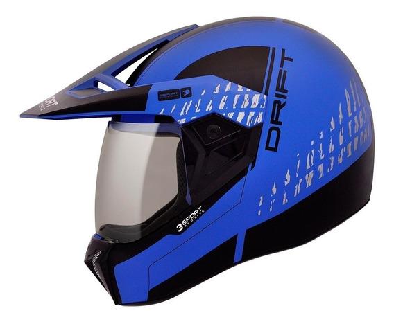 Capacete Esportivo Bieffe 3 Sport Cross Drift Preto Azul