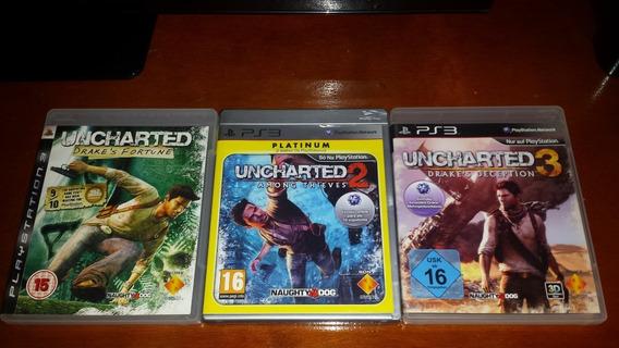 Lote Jogos Uncharted -ps3 Mídia Física Original Português/pt
