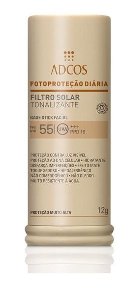 Protetor Solar Facial Com Cor Base Stick Fps55 Adcos+ Brinde