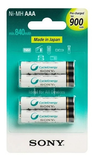 Pilha Recarregavel Aaa 900mah Sony Original Palito C/4 Unid