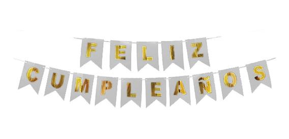 Banderín Feliz Cumpleaños Color Blanco Y Dorado - Cc