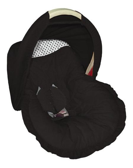 Capa Para Bebê Conforto Com Capota Preto Com Poá Branco