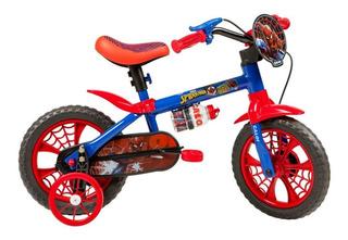 Bicicleta Infantil Aro 12 Spider Man Com Rodinhas Caloi 3+