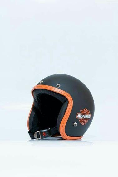 Capacete Custom - Old School Café Racer Skull - Preto Fosco