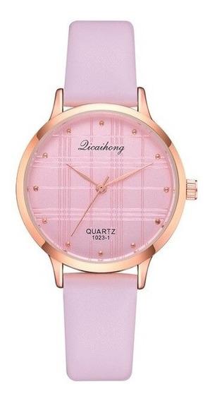 Reloj De Dama Juvenil Extensibles De Piel Quartz Rosa