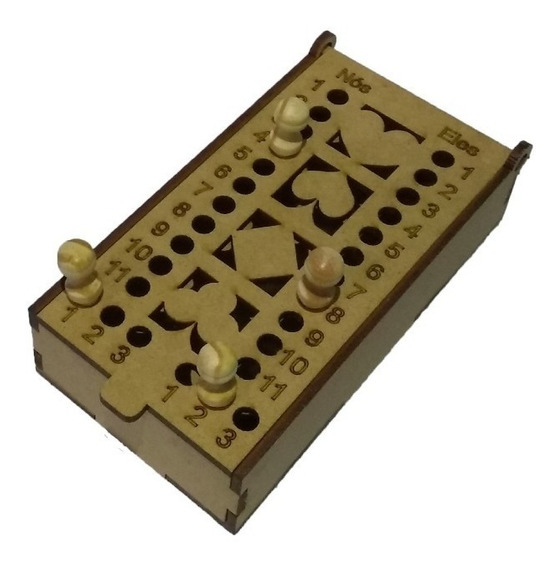 Caixa Porta Baralho C/ Marcador De Truco Em Mdf Corte Laser