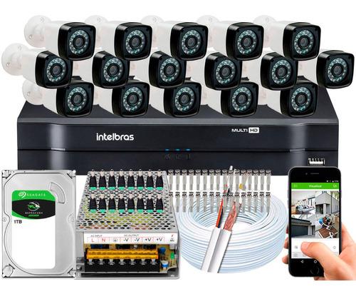 Imagem 1 de 5 de Kit Cftv 16 Cameras Segurança 1080p Full Hd Dvr Intelbras 16