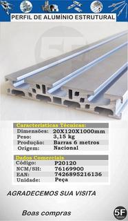 Perfil Estrutural Em Alumínio 20x120x1000mm