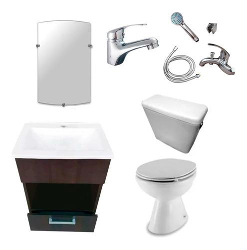 Imagen 1 de 9 de Juego Baño Completo Vanitory Sanitarios Griferia Monocomando