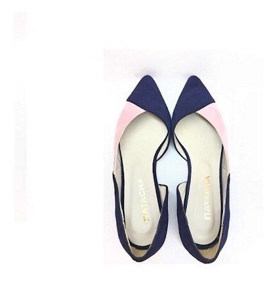 Zapato Mujer Chata Natacha Gamuza Azul Y Rosa #129