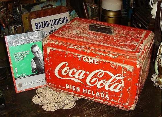 Antigua Heladera Coca Cola Legítima Madera Almacen (4623)