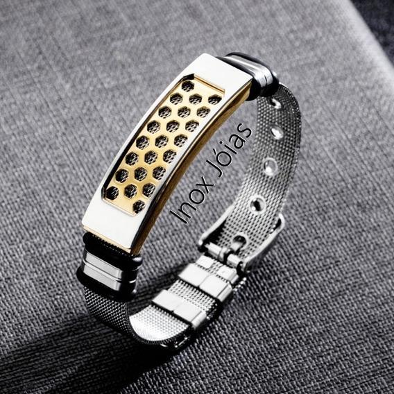 Bracelete Masculino Aço Inox Inoxidável Folheada Ouro 18k