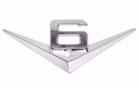 1 Emblema Adesivo Metal Turbo V6 Cromado P Veiculos 6 Cil
