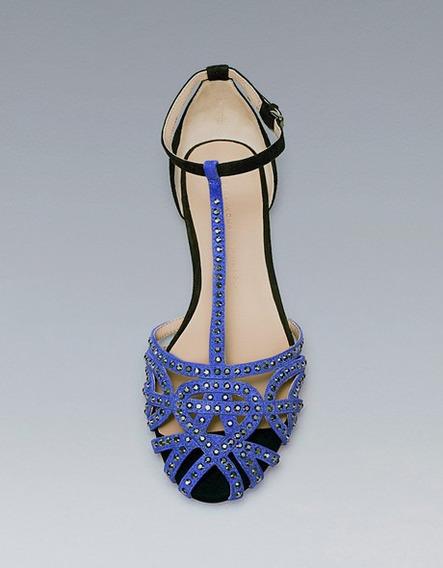 Zapatos Flats Zara 37eur Azul 24mx Nuevos Piel #b8