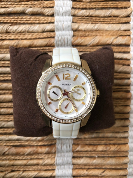 Relógio Fossil Branco E Dourado - Emborrachado (original)