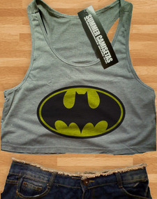 86b196fb3 Blusa Cropped Batman Feminina Regata Camiseta