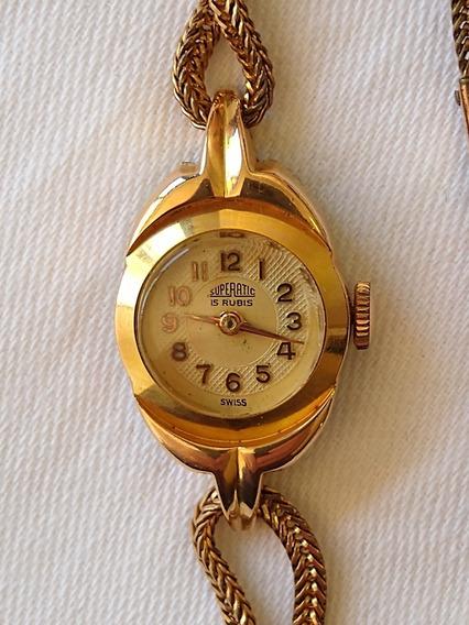 Relógio Pulso Feminino Swiss Superatic 15 Rubis (relíquia)