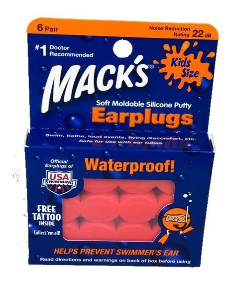 Protetor Auricular Silicone Criança Kids Macks Putty 6 Pares