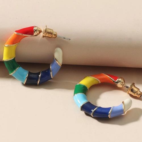 Imagem 1 de 7 de Argola Ane - Colorida Rainbow