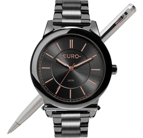 Relógio Euro Feminino Glam Grafite Eu2036yms/4c Nota Fiscal