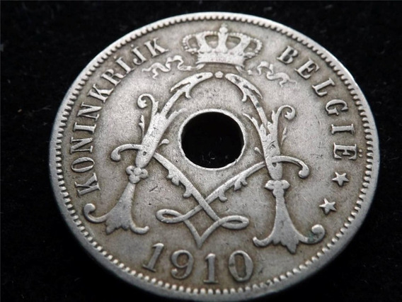 Belgica Moneda 25 Cents Año 1910