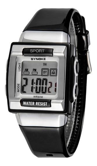 Relógio Infantil Synoke 6188 Sport Luz De Led Alarme