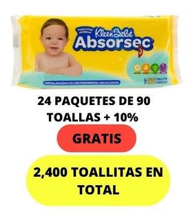 Toallitas Húmedas Absorsec 90´s + 10% Gratis 24 Paquetes.