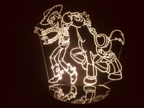 Luminária Led 3d Toy Story Xerife Woody Cavalo Bala No Alvo