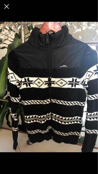 Suéter Tipo Chamarra Ralph Lauren Negro Con Blanco Original