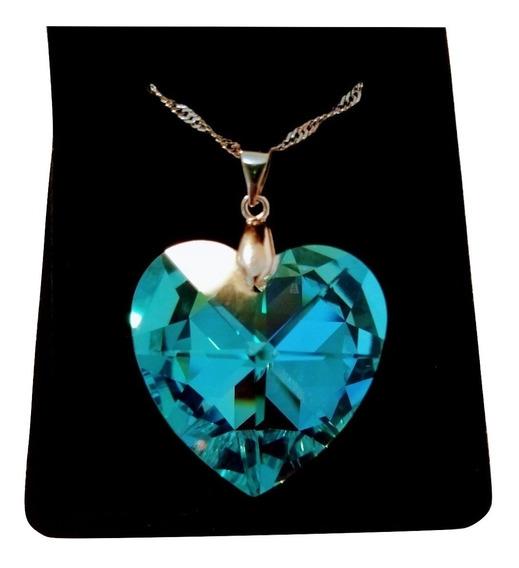 Colar Coração Cristal Swarovski Blue Ab 2,8 Cm Em Rhodium