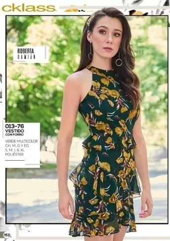Vestido Dama Cklass 013-76 Verde Floral C/holanes Oi-19