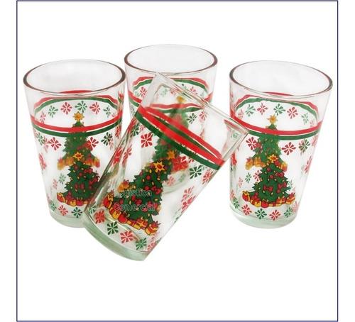 Juego De 8 Vasos De Arbol Navideño 7x11cm 8 Onzas Navidad