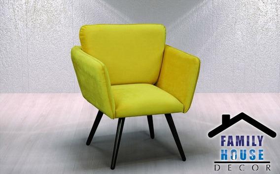 Poltrona Taina/ Tecido Suede Liso Amarelo/ Pés Em Madeira