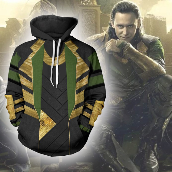 Maravilla Avengers Loki Sudadera Jersey Capucha Thor Traje