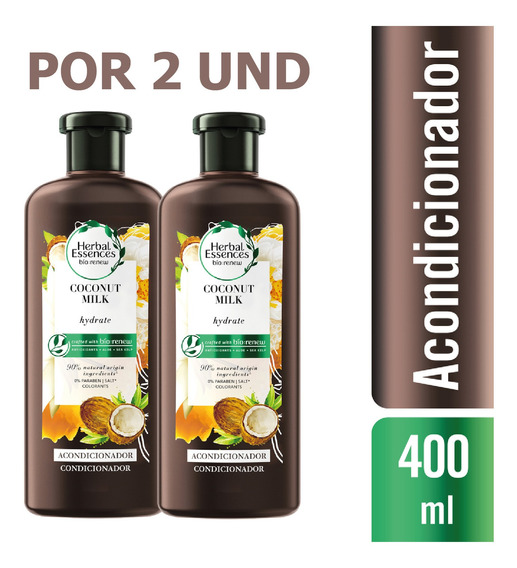 Acondicionador Herbal Essences Bio:coconut Milk 400ml X2 Und