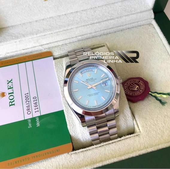 Rolex Presidente Prata Daydate Azul Com Caixa E Documentos