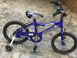 Bicicleta Vairo Azul Rodado 16 Con Rueditas