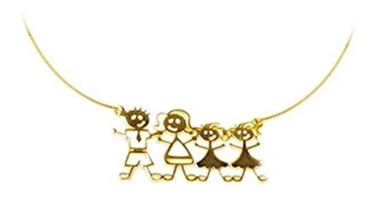Cordão Familia Feliz Prata Banhado A Ouro 18k