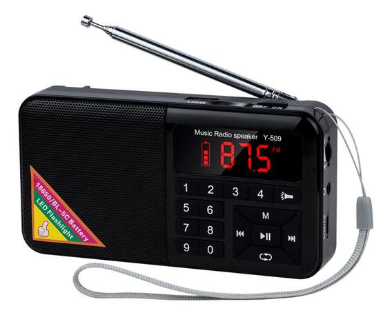 Y-509 Portátil Rádio Fm Mini Alto-falante Raido Digital Com