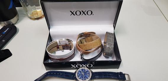 Relógio Xoxo Com 07 Pulseiras Importado E U A