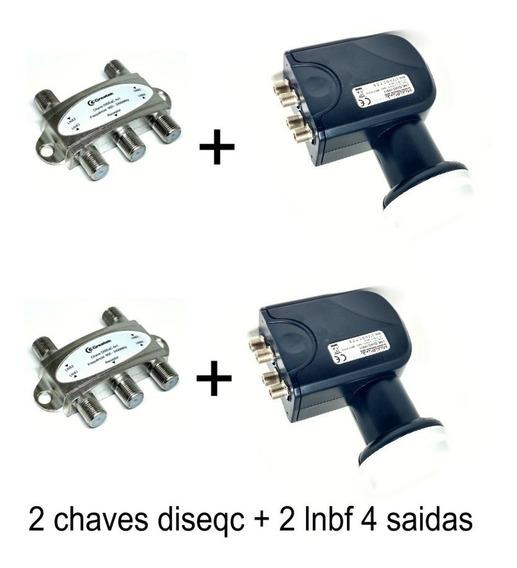 2 Lnb Quadruplo Lnbf 4 Saidas + 2 Diseqc 4x1 Greateck