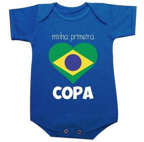 Minha Primeira Copa 2018 Body Do Brasil Azul / Camiseta Inf