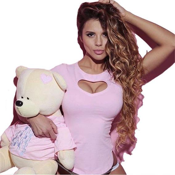 Remera Mujer Elastizada Algodon Con Lycra Moda Dama A06