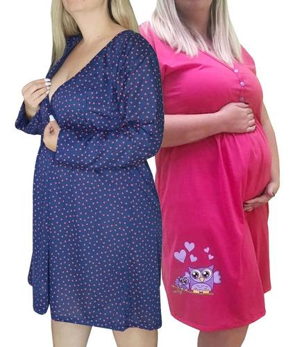 Imagem 1 de 10 de Kit 2 Camisolas Plus Size Gestante E Maternidade 7876 0271